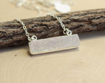 Sterling Silver Aurora Borealis Horizontal Druzy Bar Necklace