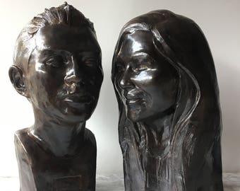 Tête de Sculpture buste Portrait personnalisé, fabriqué sur commande en céramique Figure visage Art