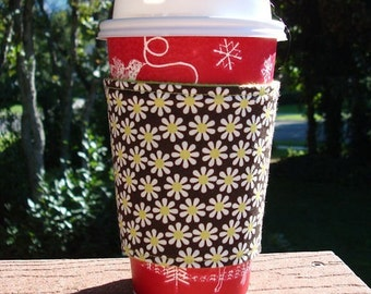 FREE SHIPPING UPGRADE with minimum -  Fabric coffee cozy / cup sleeve / coffee sleeve  -- Lime Daisy on Brown