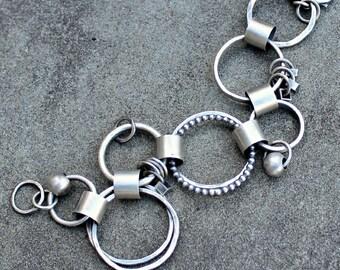 Sterling Silver Bracelet - Hammered Link Bracelet - Hand Made Chain - Silver Link Bracelet - Handmade Sterling Link Bracelet - Chunky Links