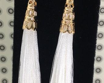 White Tassel Earrings, Rhinestone Tassel Earrings, Bohemian Earrings, White Earrings, Silk Tassel Earrings, Summer Earrings
