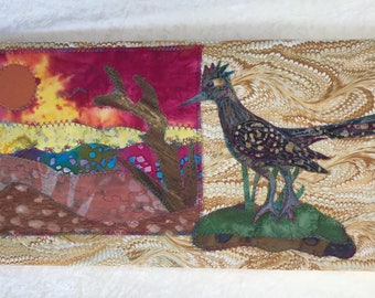 Why a Roadrunner ?  fabric art painting