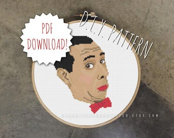 DIY Bow Tie Guy cross stitch PATTERN. Counted cross stitch pattern. Needle point pattern.