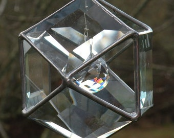 clear beveled stained glass geometric sun catcher with crystal