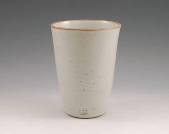 Large White Ceramic Tumbler 16 oz* Stoneware Beer Mug Cup Pottery Pint Tumbler Beaker Handmade