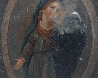 Antique Mexican Retablo Painting, Mater Doloroso,  Our Lady of Sorrows, Virgin Mary, Madonna