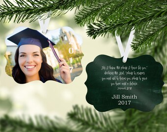 Personalized Christmas Ornament - Picture Ornament - Jeremiah 29:11 For I know the plans Ornament - Graduation Ornament -Christian Gift