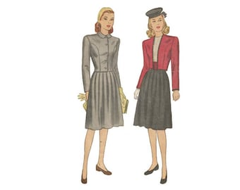 2 Piece Skirt Suit Size 14 Bust 32 Vintage 1940s Simplicity Sewing Pattern 1521 Pleated Skirt/Cropped Jacket/Princess Seams/War Time Fashion