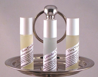 MOISTURIZER & PERFUME OILS - Lavender Chamomile / Rose Patchouli / Ylang Ylang - Natural Roll On Moisturizer Perfume Oil