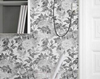Peony Pattern Wallpaper, Removable Wallpaper, Wall Decal, Peony Wall Sticker, Peony Self Adhesive Wallpaper, 078