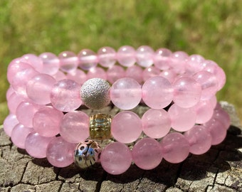 Rose Quartz Bracelet-  Pink Gemstone Bracelet- Fourth Chakra Energy Gemstone- Graduation Gift- Girlfriend Gift- The Love and Heart Stone
