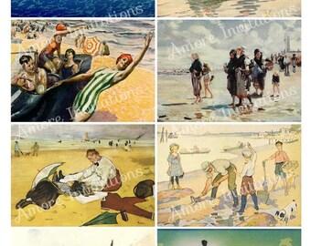 Printable Vintage Beach Digital Collage Sheet, Clip Art, Images atc, PDF  JPEG  Instant Download  Downloadable  Commercial Use  CU use