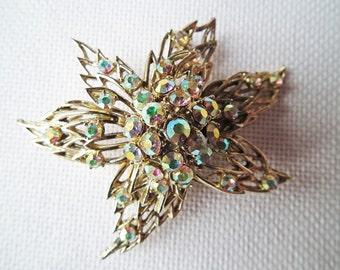 Large Vintage Rhinestone Brooch, Silver Tone, Sparkling AB Diamante, Costume Jewellery, Fashion Jewelry, Statement Retro Brooch