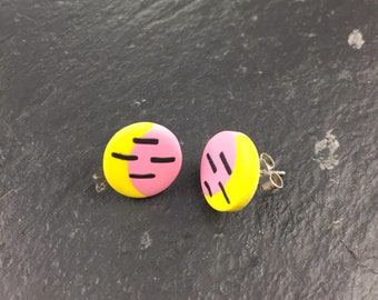 Polymer clay studs - graphic earrings - pink and yellow studs -silver earrings -  small circle earrings - round studs - gift for girl - mum