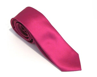 Mens Ties Fuchsia Pink Silk Skinny Necktie With *FREE* Matching Pocket Square Set