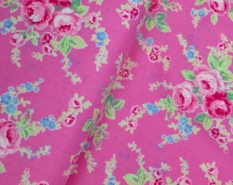 Pink Floral Bouquet Cotton Fabric from the Flower Sugar Wind Spring 2017 Collection by Lecien Fabrics