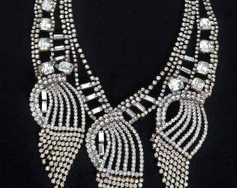 Extravagant Art Deco Crystal Rhinestone Multilayer Necklace Czechoslovakia