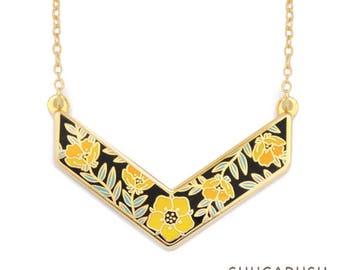 Summer Flower necklace, V Shaped Necklace, Chevron Enamel Flower