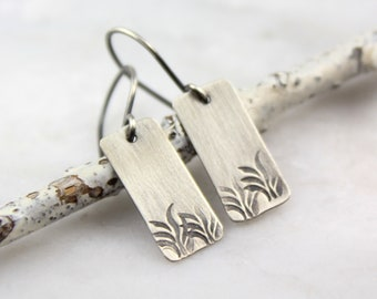 Wavy Grass Stamped Rectangle Silver Earrings