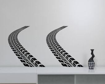 Tire Tracks Vinyl Wall Decal Auto Car Wheel Trace Removable Sticker Art Sports Race Decorations for Home Bedroom Garage Racing Decor ttr3