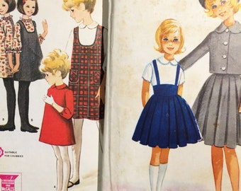 2 Vintage 1960's Helen Lee Girls' Jumper Dress Sewing Patterns sz 8