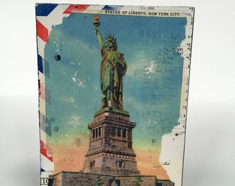 Statue of Liberty Postcard Art, New York City Mixed Media Art, NYC Mixed Media Collage, NYC Photo Transfer Art