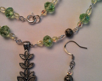 Crystal and Silver Necklace and Earrings with Pewter Stacked Flower Pendant