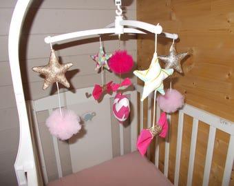 Mobiele baby musicalcoeur, knopen, sterren en PomPoms. Aangepaste *.