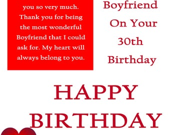 Boyfriend 30 Birthday Card with removable laminate