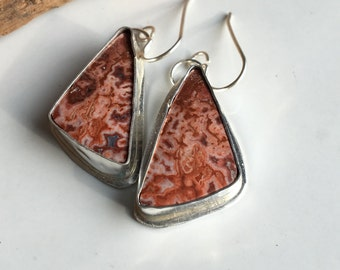 50% OFF Rosetta Stone Earrings, Sterling Silver, Crazy Lace, Cabs Set in Silver, Southwest Style, Pink, Red Stones