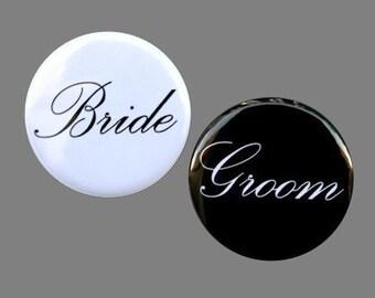Bride And Groom - Buttons Pinbacks Badges 1 1/2 inch Set of 2 - Keychains Magnets or Flatbacks