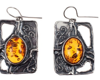 Amber silver Earrings, Handmade Earings