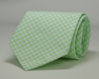 Mint Necktie, Mint Green Gingham Tie, Men's Necktie, Wedding Necktie. Mint Wedding, Groomsmen Tie