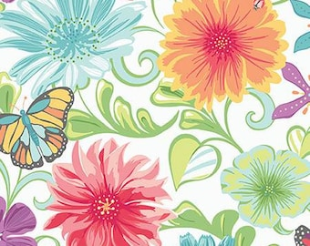 Meadow Dance by Amanda Murphy for Benartex White Multi Wildflowers = flower feminine quilting precut fabric 4040B-09