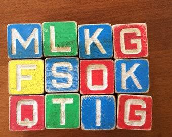 12 Wooden Disney Alphabet Blocks