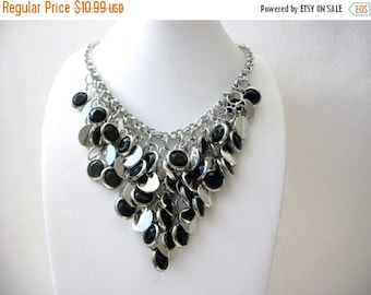 ON SALE Vintage Silver Black Heavier Signed Tag Chunky Necklace 12817