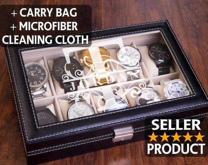 Watch Box, Watch Case, Engraved Watch Display, Jewelry Storage, Personalized Organizer, Valet Storage Box, Man Watch, Men's Fathers Day Gift