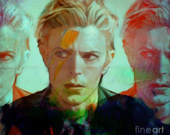 David Bowie 3 Faces/Pop Music/Rock Music/WoodPrint/Lithographie/Ziggystardust/Chameleon/BowiePoster/BowieFineart/Expressive/Singer/Painting