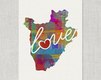 Burundi Africa Love - Colorful Watercolor Style Wall Art Print & Home Country Map Artwork - Adoption, Moving, Engagement, Wedding Gift