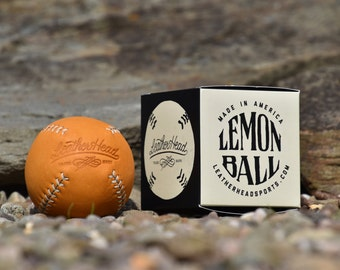 LEMON BALL Vintage style lemon peel baseball, tan with white stitch, tan leather, Sports, Play, Games, Handmade (LB-Gtan-Wh)