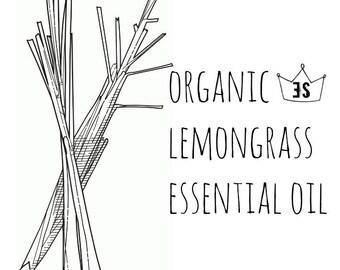Organic Lemongrass Essential Oil - Pure Lemongrass Oil - Organic Essential Oil - Pure Essential Oils