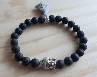 Mens black lava stone bracelet
