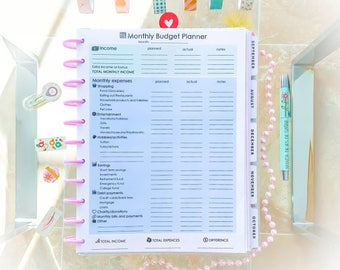 Monthly Budget Planner Printable Big Happy Planner Letter Size Yearly Expenses Income Debt Payment Savings Tracker PDF Instant Download.