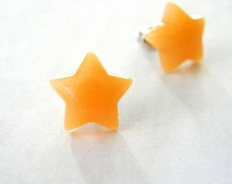 Orange Star Post Earrings Stud Earrings 13mm