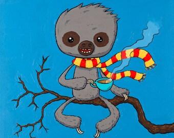 Baby Sloth Drinking Warm Beverage giclee print