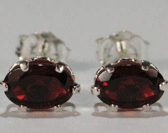 Red Garnet Earrings~.925 Sterling Silver Setting~6mm x 4mm Oval Cut~Genuine Natural Mined