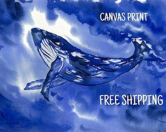 Blue Whale Big canvas print watercolor Dorm decor  Whale watercolor Whale wall decor Whale art print Whale painting