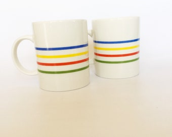 Vintage 1980s | Two Hudson Bay Blanket Striped Mugs | Blue, Yellow, Red, Green, White | Coffee, Tea, Stripes, Rainbow