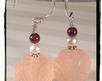 Vintage Pinky-Peach Carved Lucite, Garnet, Freshwater Pearls and Sterling Silver Earrings--Pretty for Every Occasion
