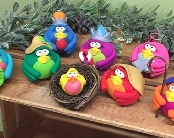 Nativity Scene, Navitiy Set, Bird Nativity Scene, Christmas Decoration, Religious Decoration, Christmas, Holiday Decor, Bird Decoration
